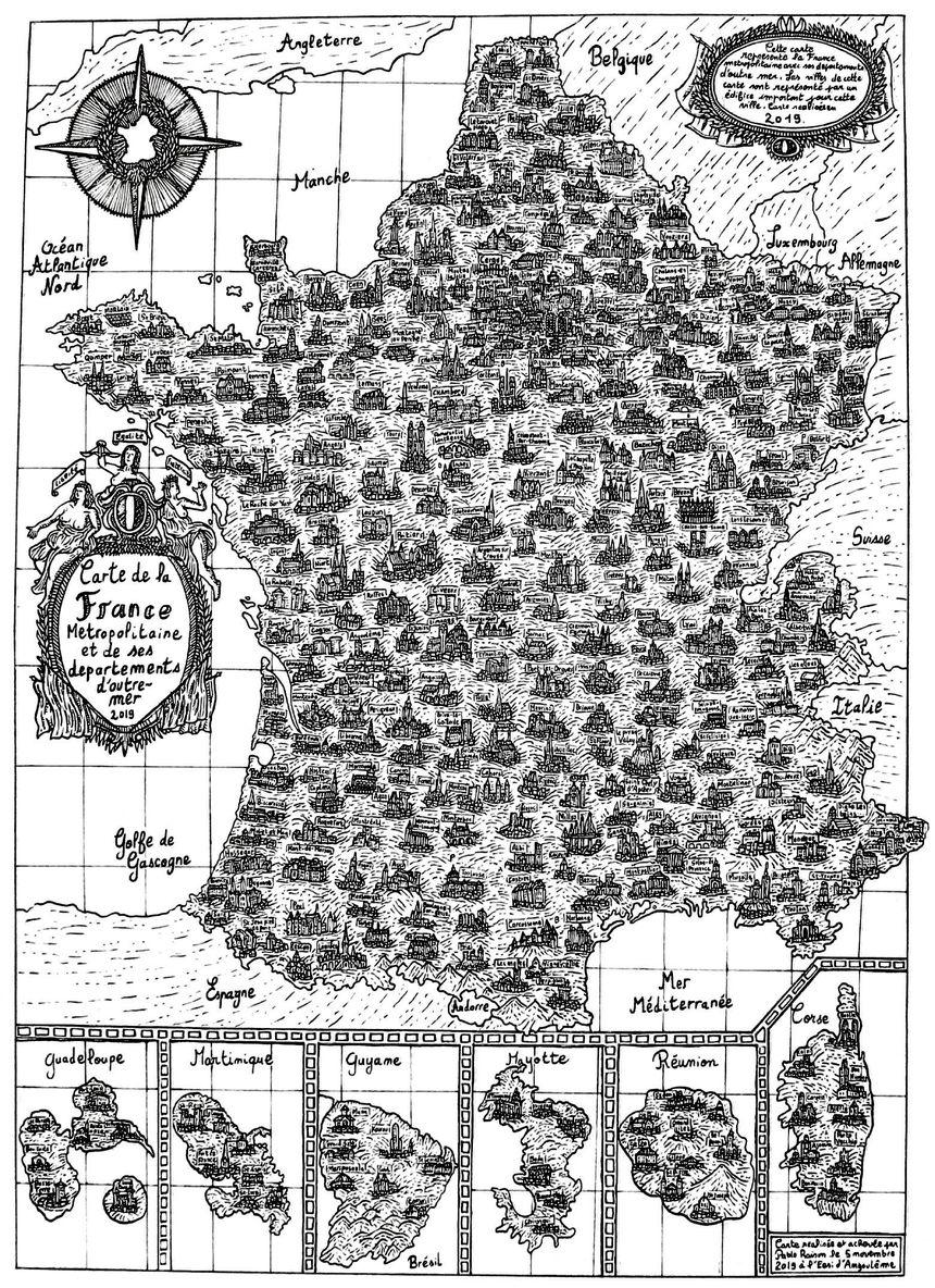 La carte de France dessinée à l'encre de Chine par Pablo