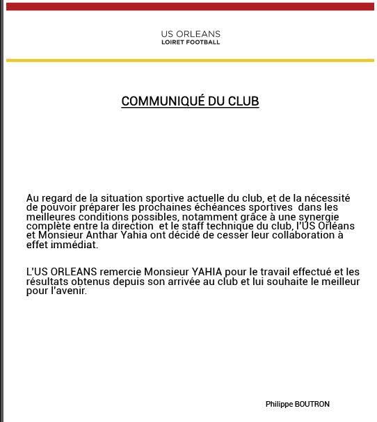 Le communiqué officiel de l'USO foot