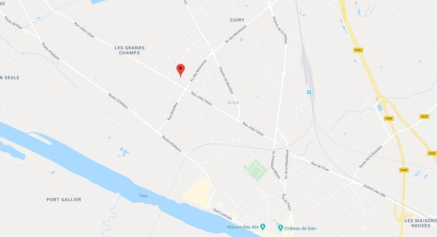 Plan du centre de Gien (Loiret)