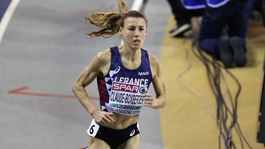 L'athlète franc-comtoise Ophélie Claude-Boxberger, lors des Championnats d'Europe d'athlétisme en salle à Glasgow en 2019.