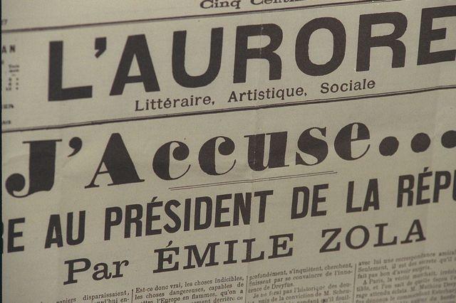 """La Une du journal """"L'Aurore"""" avec le célèbre article d'Emile Zola """"J'accuse"""", du 13 janvier 1898"""