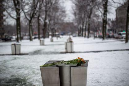 Une fleur déposée sur une plaque commémorative pour la cérémonie de commémoration 25 ans après le massacre de l'Ecole polytechnique