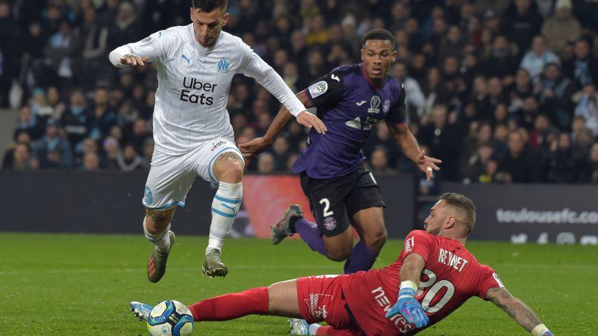 L'attaquant argentin de Marseille, Dario Benedetto, auteur du premier but de l'OM contre Toulouse