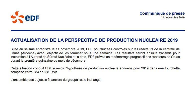 Le communiqué d'EDF