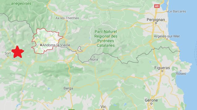 L'épicentre du séisme cette nuit dans les Pyrénées