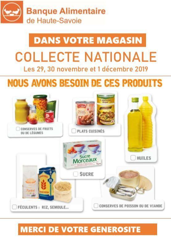 Collecte nationale de la Banque Alimentaire les 29,30 novembre et 1er décembre 2019.