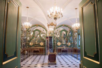 La salle en vermeil de l'historique palais de la voûte verte à Dresde