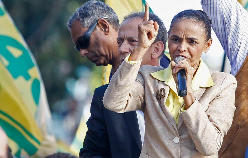 La militante écologiste brésilienne Marina Silva en campagne pour la présidentielle en 2014.