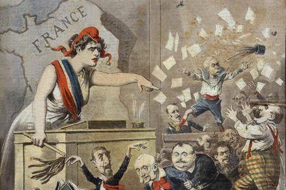 L'opposition entre Dreyfusards et anti-Dreyfusards - couverture du supplément du Petit Journal illustré du 10/07/1898
