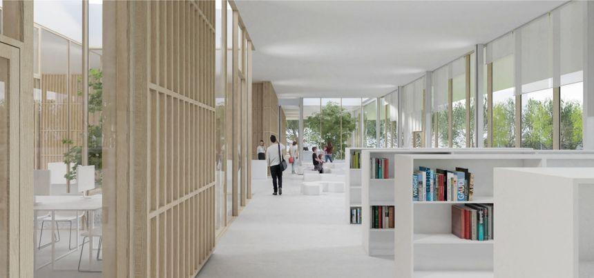 Visuel du projet de bâtiment abritant la médiathèque.