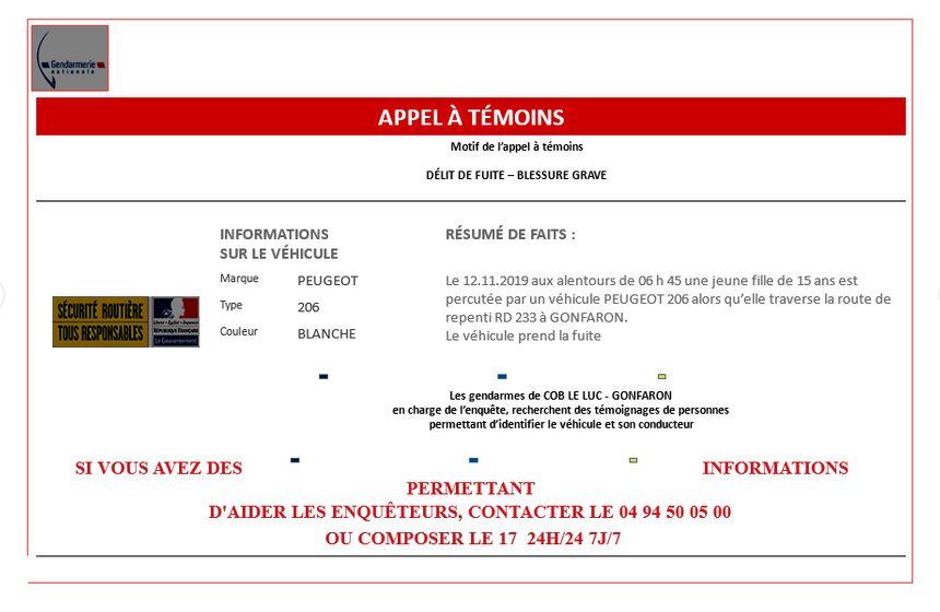 Les gendarmes du Luc en Provence lancent un appel à témoins
