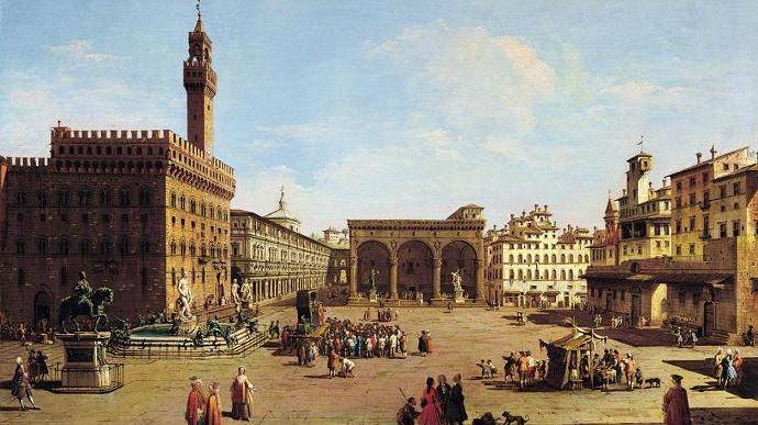 Florence - Place de la Seigneurie - Italie - Peinture à l'huile - Giuseppe Zocchi