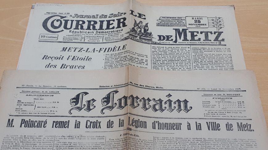 Extrait des journaux de l'époque relatant la remise de la légion d'honneur à la ville de Metz