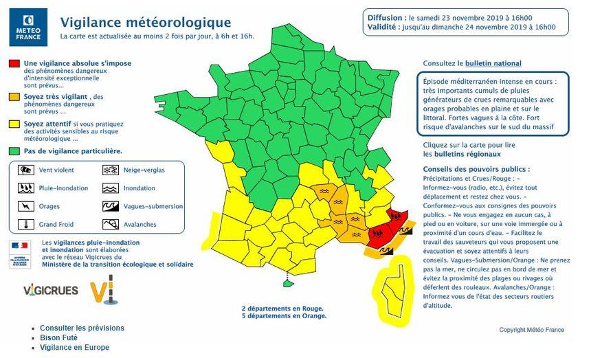 Le Var et les Alpes-Maritimes ont été placés en vigilance rouge pluie et inondations samedi à 16h