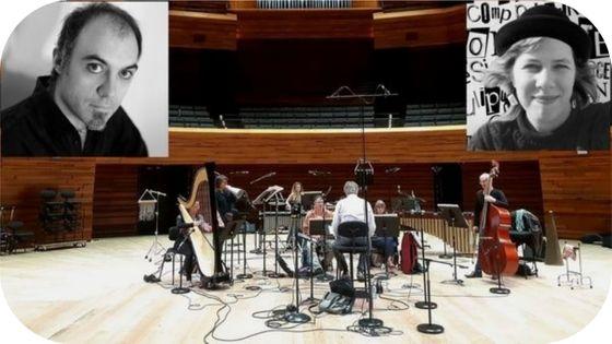 L'ensemble TM+ sous la dir de Laurent Cuniot et Muriel Ferraro à l'Auditorium de RF / En vignette Nicolas Tzortzis par M Zanaria et Camille Bloomfield