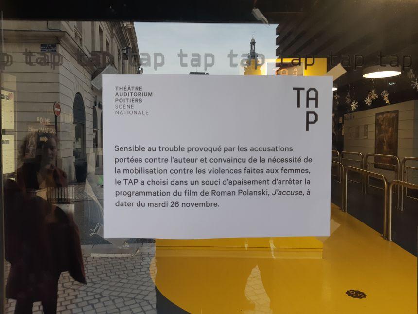 """Le message de la direction du TAP Castille expliquant la décision de déprogrammer le film """"J'accuse""""."""