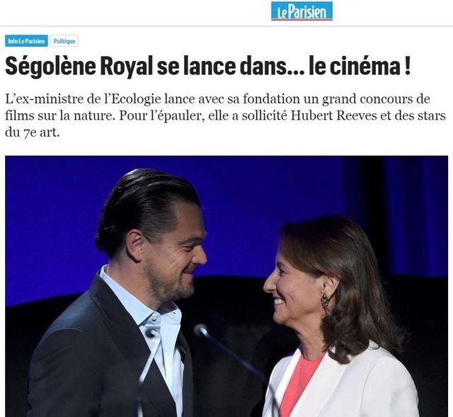 """""""Ségolène Royal se lance dans le cinéma"""". Capture d'écran d'un article du Parisien du 5 juillet 2018."""