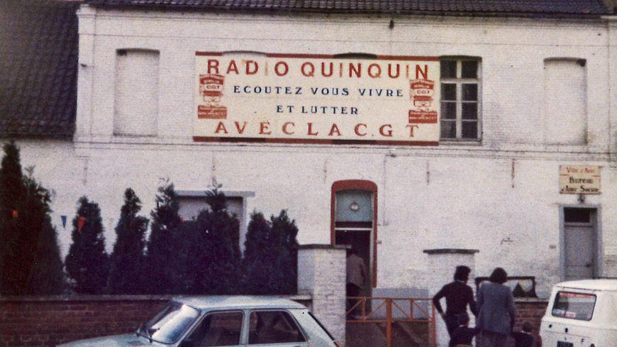 Entrée du studio de Radio Quinquin en 1980, à Auby