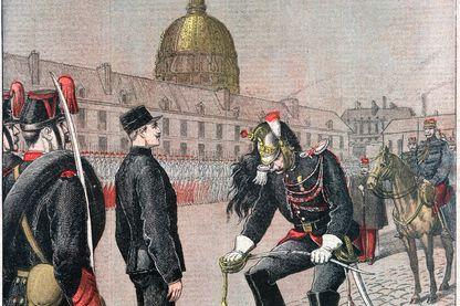 La dégradation d'Alfred Dreyfus en couverture du supplément illustré du Petit Journal du 13 janvier 1895
