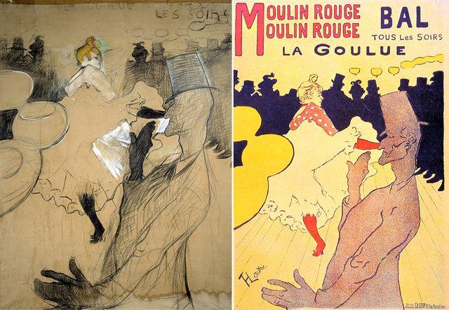 Le dessin (à g) et l'affiche (à dr) pour le Moulin Rouge avec La Goulue et Valentin le désossé