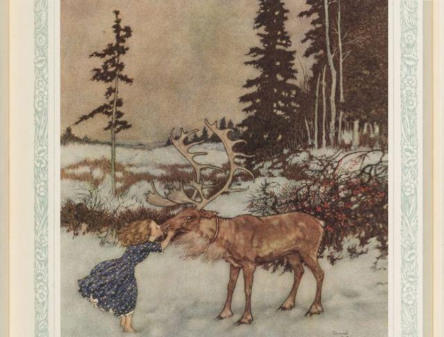 """""""Le renne déposa Gerda et lui baisa la bouche"""", dans La Reine des neiges, illustration Edmond Dulac"""