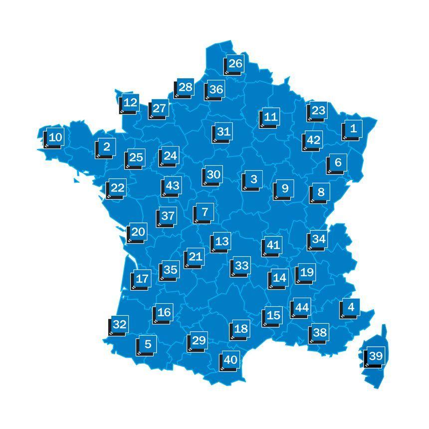 Les 44 radios locales du réseau France Bleu