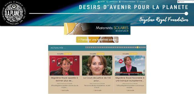 Page principale du site de la fondation de Ségolène Royal Désirs d'avenir pour la planète..