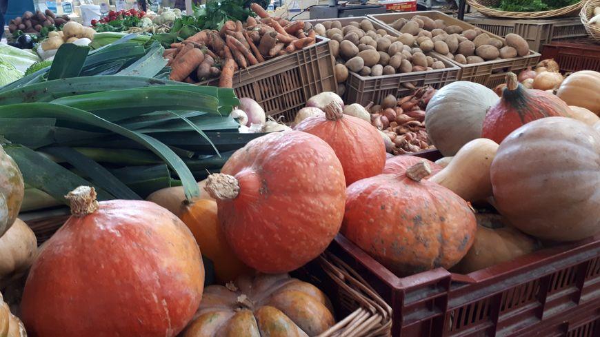 Exemple d'étals remplis de légumes sous le marché des halles à Dijon