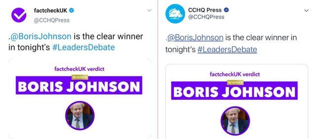 """À gauche, le logo """"FactCheckUK"""" utilisé pendant le débat ; à droite, le véritable nom et logo du service de presse des conservateurs"""