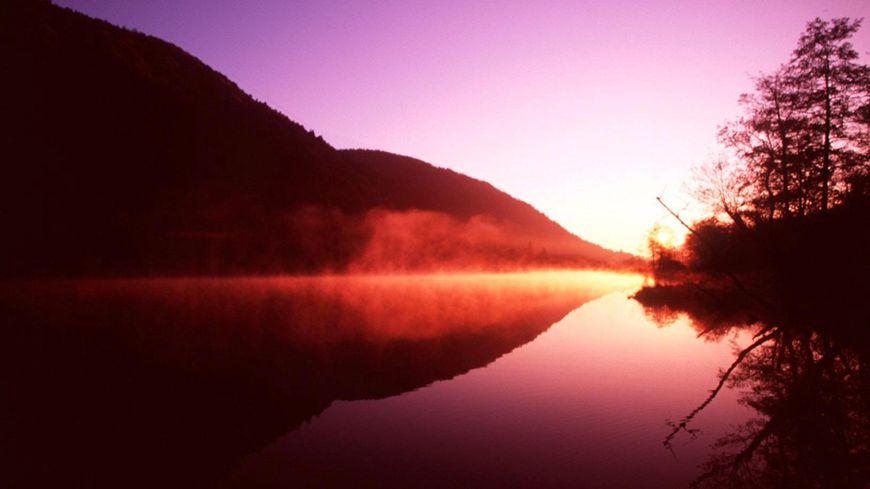 Illustration des Vosges au Lac de Sewen au coucher de soleil
