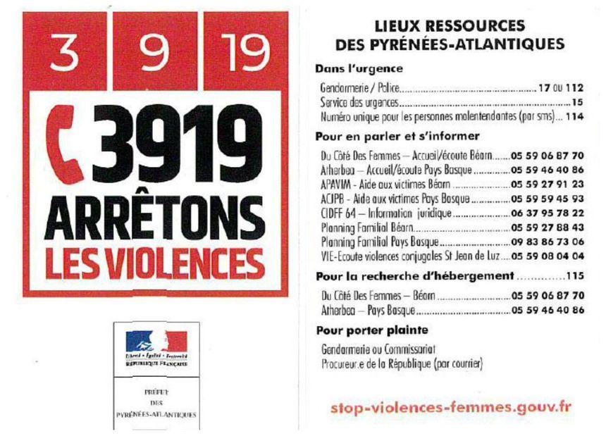 Les contacts des associations qui viennent en aide aux personnes victimes de violences dans les Pyrénées-Atlantiques