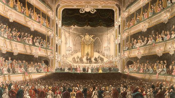 La salle de Covent Garden à Londres par Thomas Rowlandson (1808)