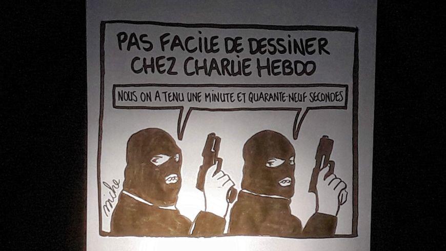 Les dessinateurs de Charlie Hebdo ont croqué la première apparition publique de la rédaction depuis 2015. L'équipe est venue à Strasbourg le 2 novembre 2019 pour le forum mondial de la démocratie.