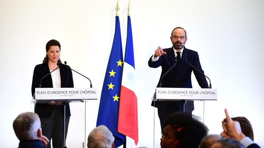 La ministre de la Santé Agnès Buzyn et le Premier ministre Édouard Philippe lors de la présentation du plan hôpital, le 20 novembre 2019 à Paris.