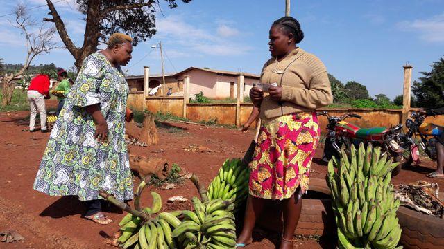 Vente de bananes au bord de la route. Les femmes vivent de ces productions de fruits et légumes