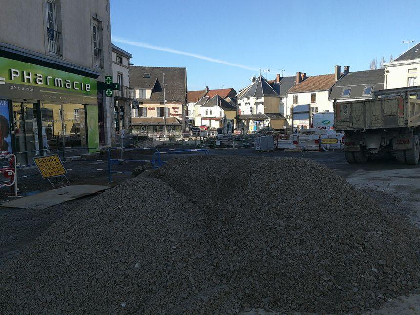 Le centre-ville de Pouilly-en-Auxois en travaux