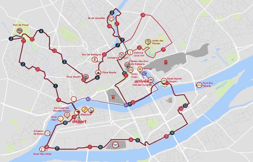 Le parcours du marathon de Nantes en 2020.