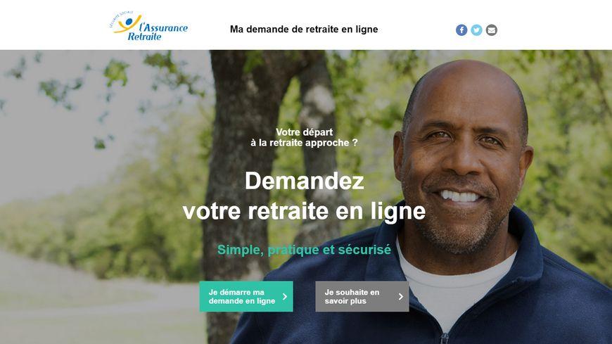 La page d'accueil de la plateforme Mademandederetraiteenligne.fr.