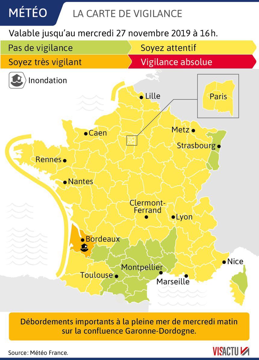 La vigilance orange maintenue en Gironde