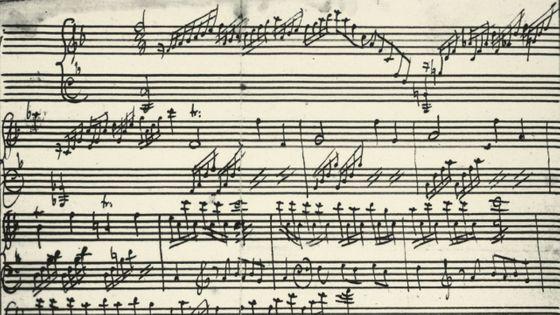 Une partition manuscrite de Mozart