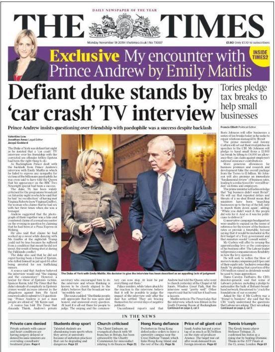 Dans le Times de ce lundi, le prince Andrew insiste sur le succès de son interview