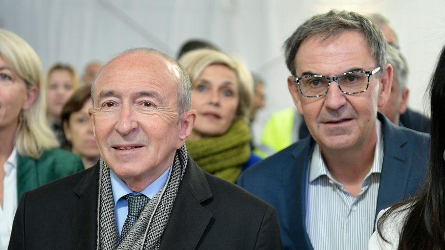Le maire sortant et ex-ministre de l'Intérieur Gérard Collomb à gauche, le président de la Métropole de Lyon David Kimelfeld à droite.