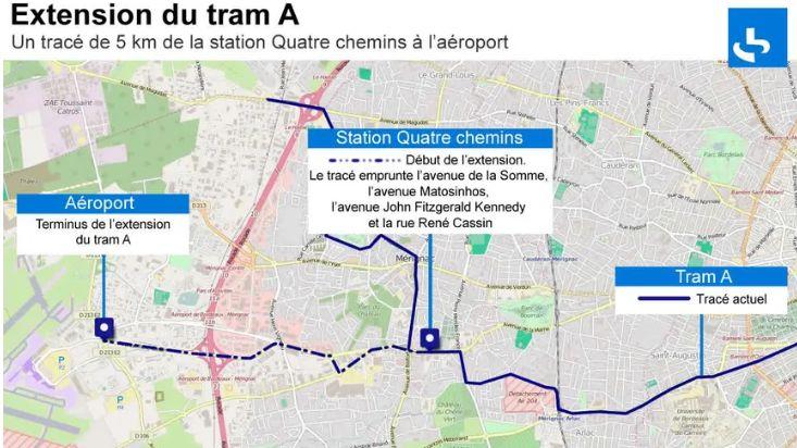 Le tracé du futur tram vers l'aéroport