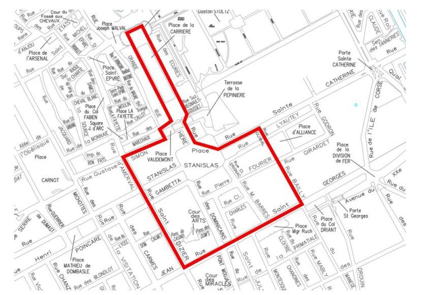 Plan de la manifestation à Nancy des gilets jaunes le samedi 23 novembre
