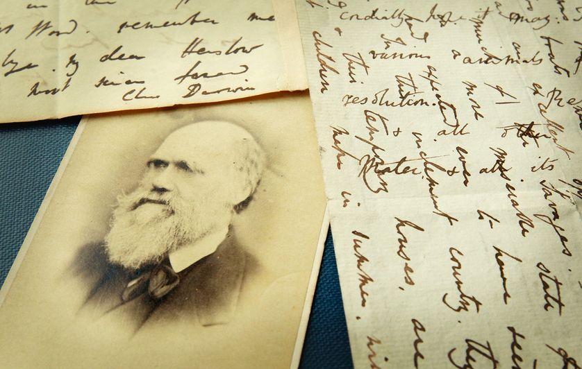 Les lettres originales de Charles Darwin affichées à la bibliothèque Herbaruim le 25 mars 2009 au Royal Botanic Gardens, Kew à Londres.