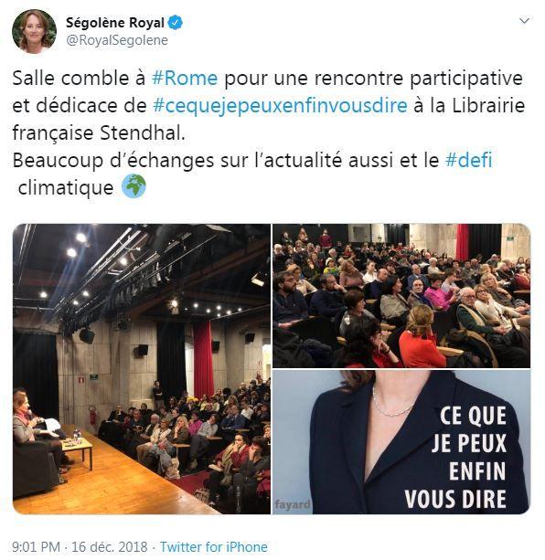 Tweet de Ségolène Royal le 16 décembre 2018 lors d'une dédicace de son livre Ce que je peux enfin vous dire, à Rome.