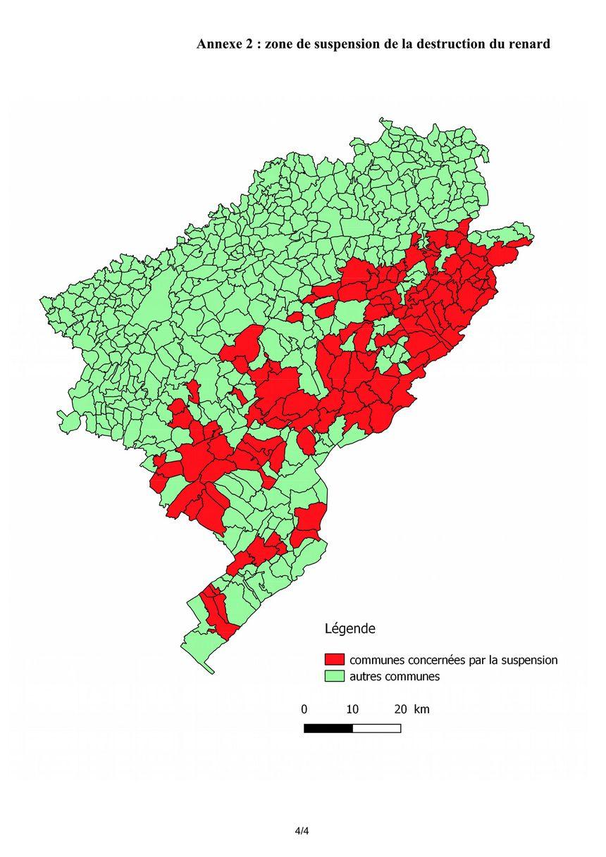 Les 117 communes où le renard ne peut plus être piégé.