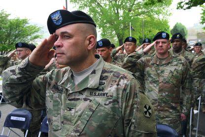 Soldats américains lors d'une cérémonie sur une base près de Séoul, la capitale sud-coréenne en 2017. Les États-Unis ont 28 500 soldats stationnés sur le sol sud-coréen.