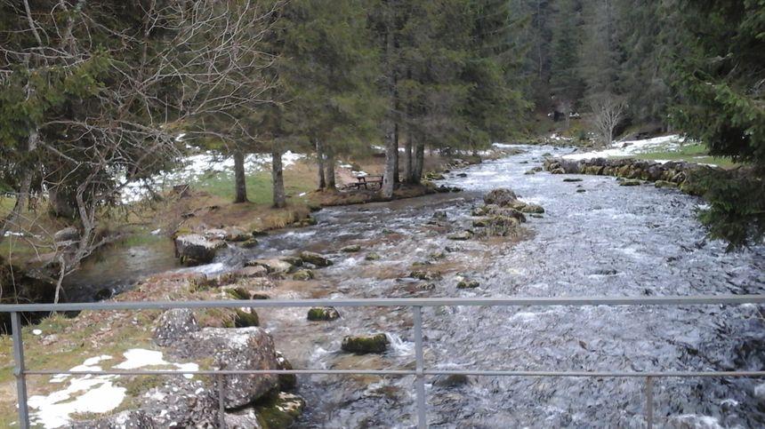 Le Doubs, 100 mètres en aval de la source, et les traces du bief (canal de dérivation) qui servait aux moulin, tannerie et scierie qui y ont connu la prospérité...