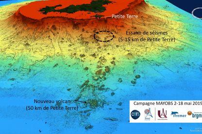 Une modélisation de l'île de Mayotte au large de laquelle est né un volcan sous marin.